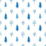 水彩与树的冬天样式 皇族释放例证