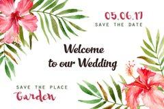 水彩与热带花和叶子的贺卡 免版税库存照片