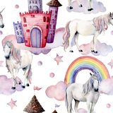 水彩与独角兽的童话样式 手画不可思议的马,城堡,彩虹,云彩,在白色隔绝的星 皇族释放例证