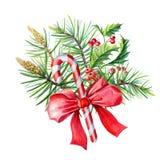 水彩与红色弓,霍莉,叶子,莓果的圣诞快乐花束 库存例证