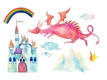 水彩与逗人喜爱的龙、彩虹、不可思议的城堡、小的公主冠、山和神仙的童话汇集覆盖 向量例证