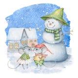 水彩与雪人和逗人喜爱的老鼠的冬天场面 免版税库存图片