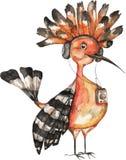 水彩与鸟戴胜的商标模板 在水彩技术的五颜六色的鸟 卡片的, prochures逗人喜爱的例证 免版税库存图片