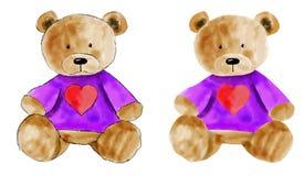 水彩为设计设置的玩具熊 拉长的现有量 图库摄影