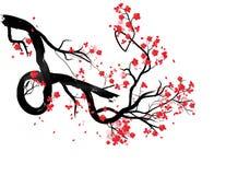 水彩佐仓框架 与开花樱桃树分支的背景 手拉的日语开花背景 库存例证