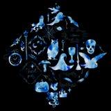 水彩例证、一套各自的元素和框架的假日万圣夜 在黑色的蓝色剪影 免版税库存照片