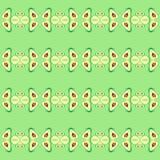 水彩例证在绿色背景和切片隔绝的鲕梨整体 在纸的手绘画 无缝的模式 库存例证
