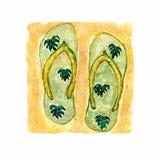 水彩例证,手拉的绿色平的拖鞋鞋子,与monstera叶子的触发器凉鞋在黄沙背景 向量例证