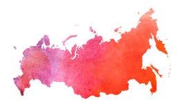 水彩俄罗斯地图设计 免版税库存照片