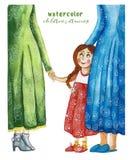 水彩儿童母亲和护士的` s图画有孩子的一个女孩一件红色礼服和猪尾的,护士拿着女孩 皇族释放例证