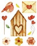 水彩元素 汇集包括叶子和分支,鸟舍,鸟,心脏 向量例证