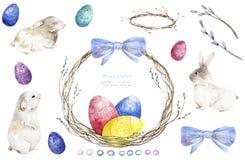 水彩兔宝宝,兔子用在木背景的复活节彩蛋 库存例证