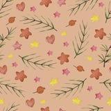 水彩冬天无缝的样式 样式用冬天莓果,心脏,星,分支 库存例证