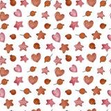 水彩冬天无缝的样式 样式用冬天莓果,心脏,星 向量例证