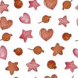 水彩冬天无缝的样式 样式用冬天莓果,心脏,星 库存例证