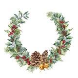 水彩冬天花圈用红色莓果和杉木锥体 手画雪果和玉树分支,金响铃 库存例证