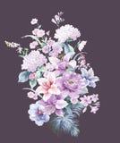 水彩向日葵蜂鸟背景 免版税库存照片