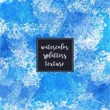 水彩喷溅蓝色艺术性的纹理 免版税库存图片