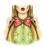 水彩图片在一华伦泰` s天,女孩亲吻,红色嘴唇,拿着一个弓碗,衬衣,华伦泰,在白色背景的心脏, 库存图片