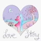 水彩图画爱情故事:与一对夫妇在爱,与心脏的一棵树的纸层状卡片 皇族释放例证