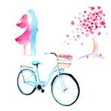 水彩图画爱情故事:与心脏的一棵树,自行车,在爱的一对夫妇 库存例证
