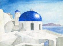 水彩图象希腊海岛蓝色圆顶旅行 免版税库存照片