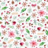 水彩圣诞节无缝的样式用香料,圣诞节开花,玫瑰,在白色背景的莓果 库存图片