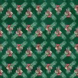 水彩圣诞节无缝的样式,背景 库存照片