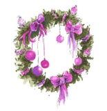 水彩圣诞节花圈 库存例证