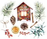 水彩圣诞节装饰设置与陶瓷房子 手画冷杉分支和锥体,桂香,伏牛花,eucalyptu 皇族释放例证