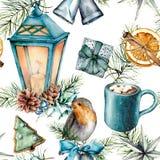 水彩在斯堪的纳维亚样式的圣诞节样式 手画蓝色灯笼,恶杯子用蛋白软糖,知更鸟,酥皮点心 皇族释放例证