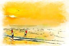 水彩在海洋风帆冲浪在日落 免版税图库摄影