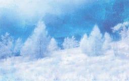 水彩在白色的冬天风景 免版税库存照片