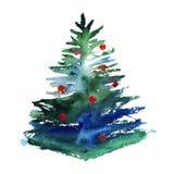 水彩在白色背景隔绝的圣诞树 皇族释放例证