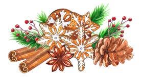 水彩在白色背景隔绝的圣诞节香料 皇族释放例证