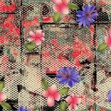 水彩在纹理的花纹花样 库存例证