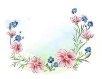 水彩在草甸开花紫罗兰和蝴蝶花并且离开 免版税库存照片