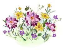 水彩在草甸开花紫罗兰和蝴蝶花并且离开 免版税库存图片