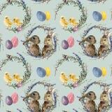水彩复活节花圈样式用兔子 手画鸡用淡紫色,杨柳,郁金香,颜色怂恿,蝴蝶 向量例证