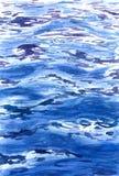 水彩大海表面背景 免版税库存照片