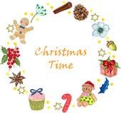 水彩套圣诞节设计乱画玩具礼物盒和面包店棒棒糖杯形蛋糕姜曲奇饼和莓果元素缠绕与 皇族释放例证