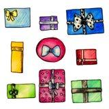 水彩套多彩多姿的被包裹的礼物 向量例证