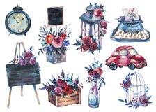 水彩套有红色玫瑰的,破旧lant手画瓶 向量例证