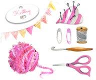 水彩套编织的工具和工艺 库存例证
