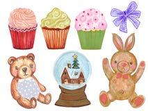 水彩套逗人喜爱的动画片水彩兔子兔宝宝玩具熊和逗人喜爱的淡色杯形蛋糕与丝带 皇族释放例证
