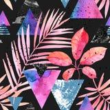 水彩异乎寻常的叶子,难看的东西纹理,在吹捧颜色的乱画无缝的样式 向量例证