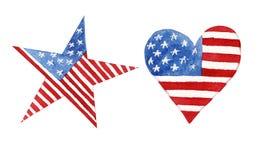 水彩心脏和星与被隔绝的美国国旗 向量例证