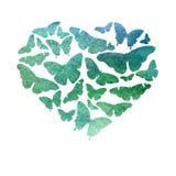 水彩心脏用绿色、绿松石和蓝色树荫明亮的透明蝴蝶填装了 图库摄影