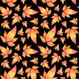 水彩手拉的叶子无缝的样式背景 库存例证