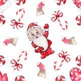 水彩手拉的圣诞老人无缝的样式 库存例证
